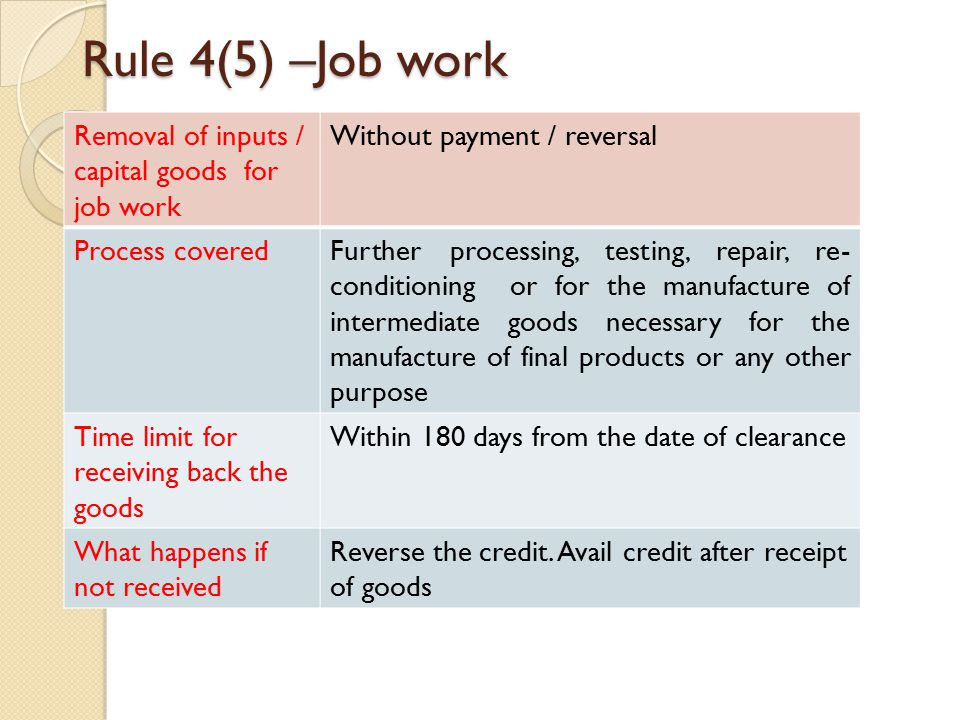 Rule 4(5) –Job work Removal of inputs / capital goods for job work Without payment / reversal Process coveredFurther processing, testing, repair, re- conditioning or for the manufacture of intermediate goods necessary for the manufacture of final products or any other purpose Time limit for receiving back the goods Within 180 days from the date of clearance What happens if not received Reverse the credit.