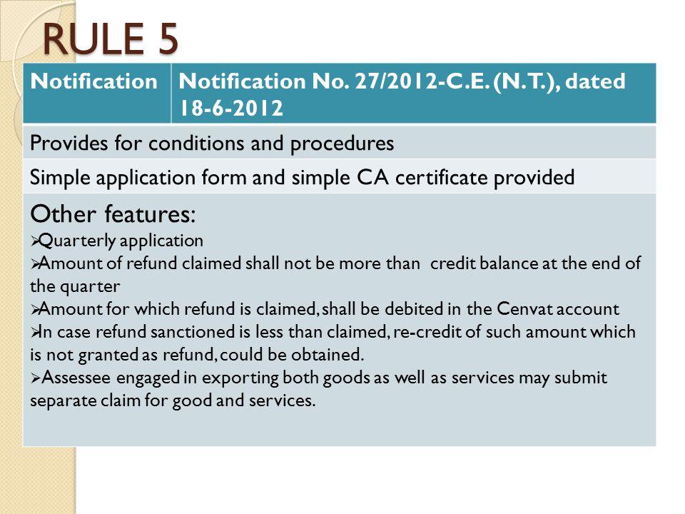 RULE 5 NotificationNotification No. 27/2012-C.E.