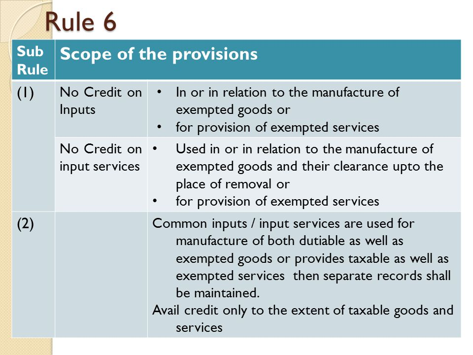 Rule 6 Sub Rule Scope of the provisions (1) No Credit on Inputs In or in relation to the manufacture of exempted goods or for provision of exempted services No Credit on input services Used in or in relation to the manufacture of exempted goods and their clearance upto the place of removal or for provision of exempted services (2) Common inputs / input services are used for manufacture of both dutiable as well as exempted goods or provides taxable as well as exempted services then separate records shall be maintained.