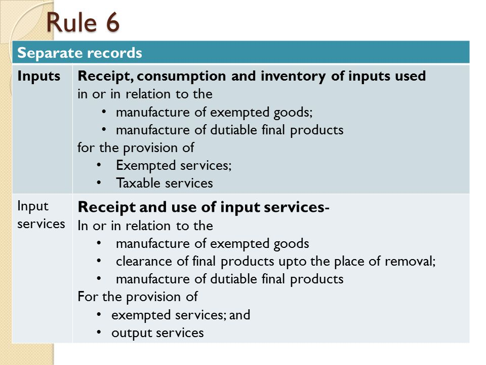Rule 6 Separate records InputsReceipt, consumption and inventory of inputs used in or in relation to the manufacture of exempted goods; manufacture of dutiable final products for the provision of Exempted services; Taxable services Input services Receipt and use of input services- In or in relation to the manufacture of exempted goods clearance of final products upto the place of removal; manufacture of dutiable final products For the provision of exempted services; and output services