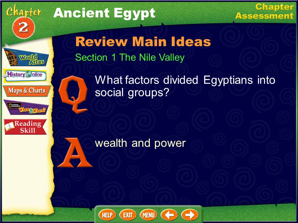 Section 1 The Nile Valley What natural barriers protected Egypt from invasion? deserts, cataracts in the Nile, and delta marshes Review Main Ideas Anc