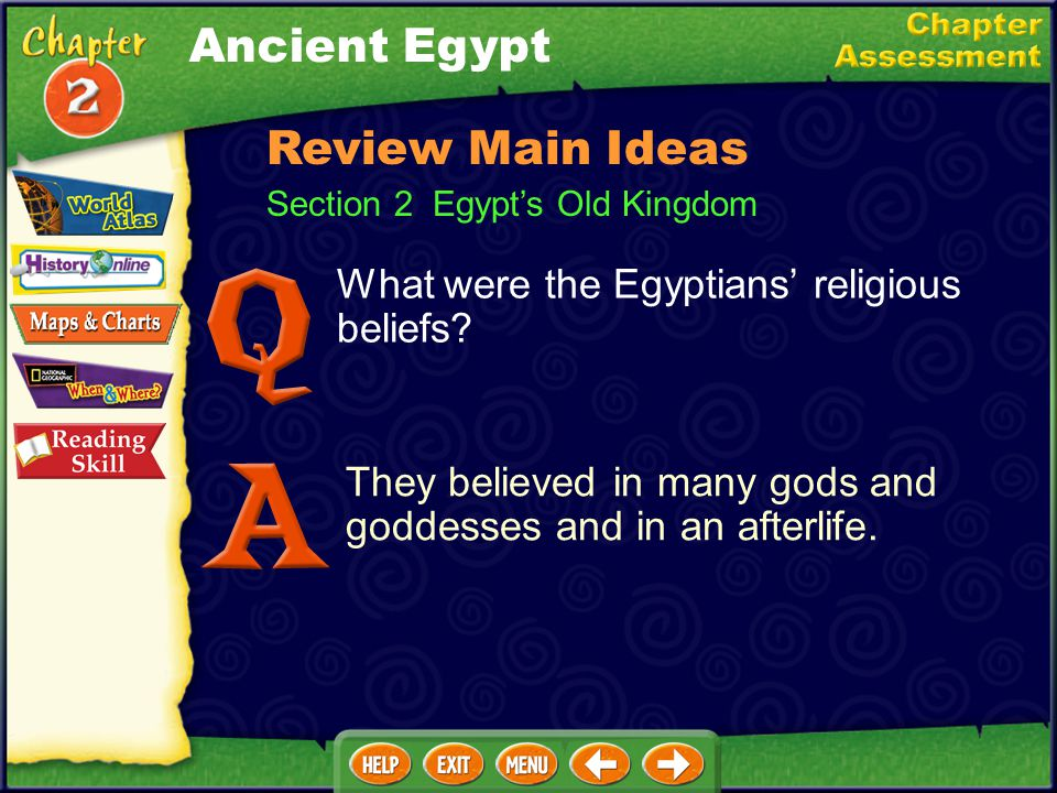 What factors divided Egyptians into social groups? wealth and power Section 1 The Nile Valley Review Main Ideas Ancient Egypt