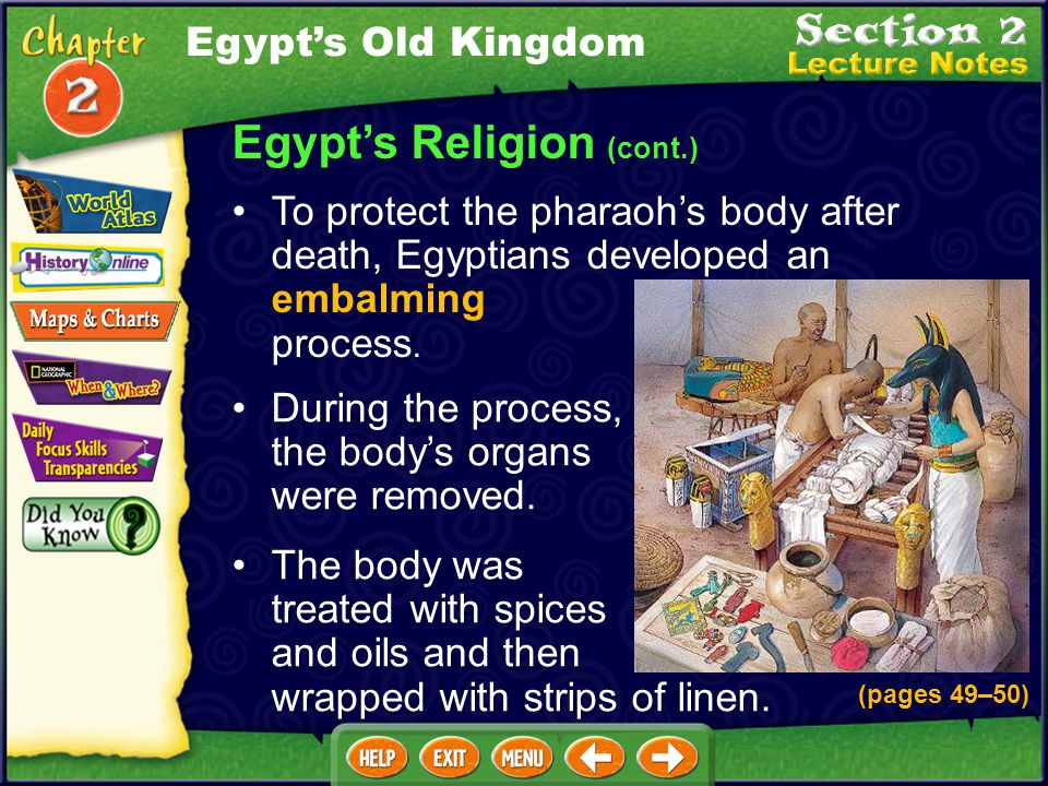 Egypt's Religion (cont.) The Book of the Dead contained a collections of spells that Egyptians believed they needed to enter the afterlife. Egyptians