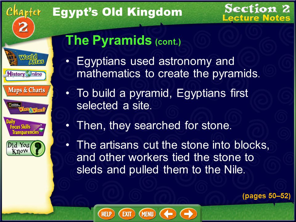 The Pyramids Egyptians built pyramids to protect the bodies of dead pharaohs. (pages 50–52) The pyramids also contained items the pharaohs might need