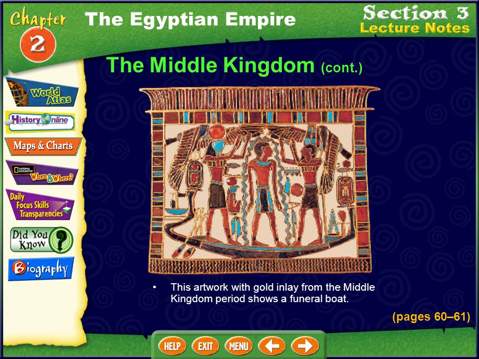 In this way, Egypt increased its riches. The Middle Kingdom (cont.) During the Middle Kingdom, the arts, literature, and architecture blossomed. The M