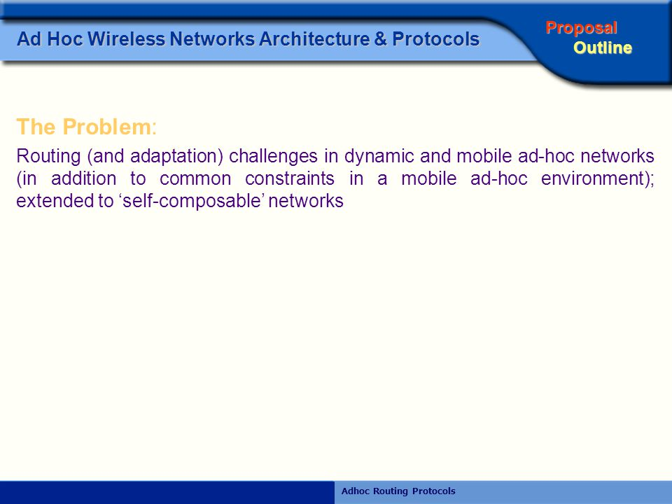 Rajiv RamdhanyAdhoc Routing Protocols Ad Hoc Wireless Networks Architecture & Protocols  RTS-CTS handshake protocol A node that wishes to send data is required to ask for permission first, by sending a RTS to the receiving node.