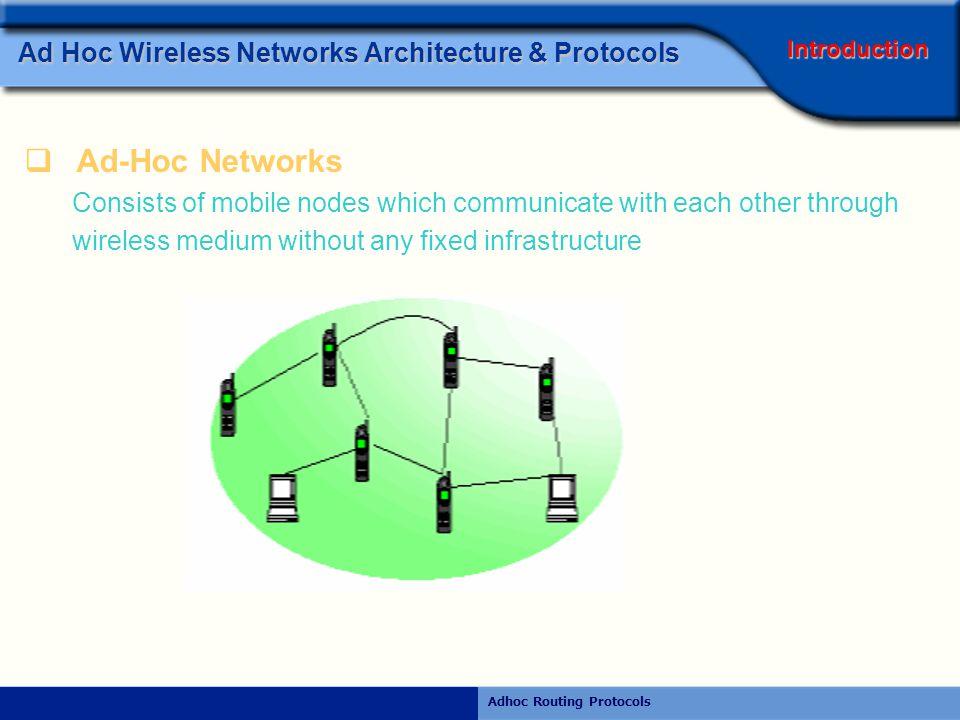 Rajiv RamdhanyAdhoc Routing Protocols AP Ad hoc Mode Ad Hoc Wireless Networks Architecture & Protocols Wireless Net.
