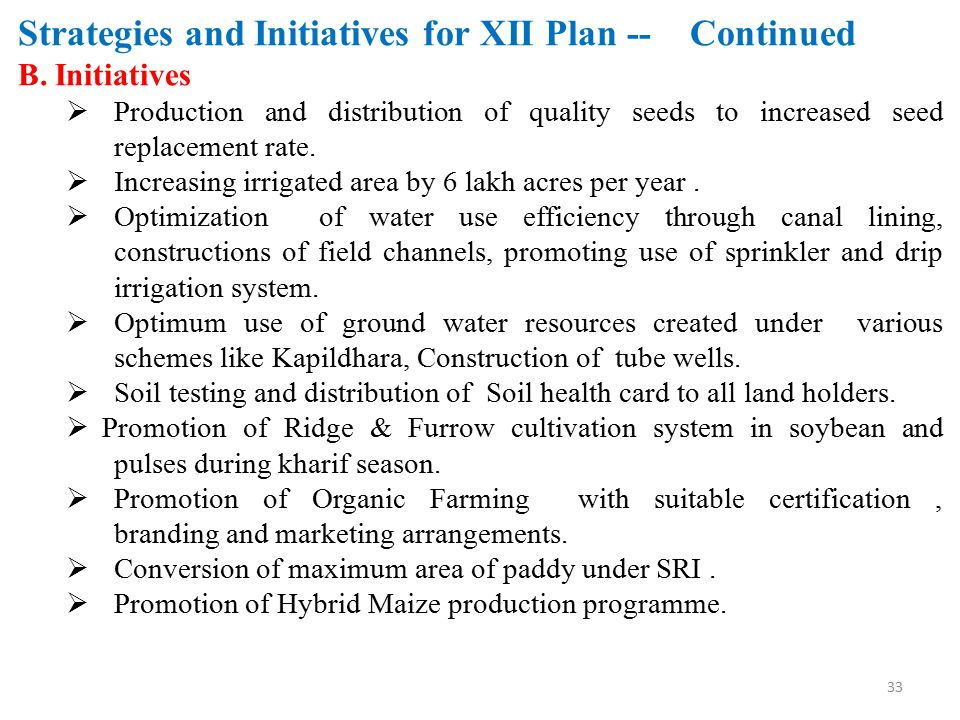 Strategies and Initiatives for XII Plan -- Continued B. Initiatives  Production and distribution of quality seeds to increased seed replacement rate.