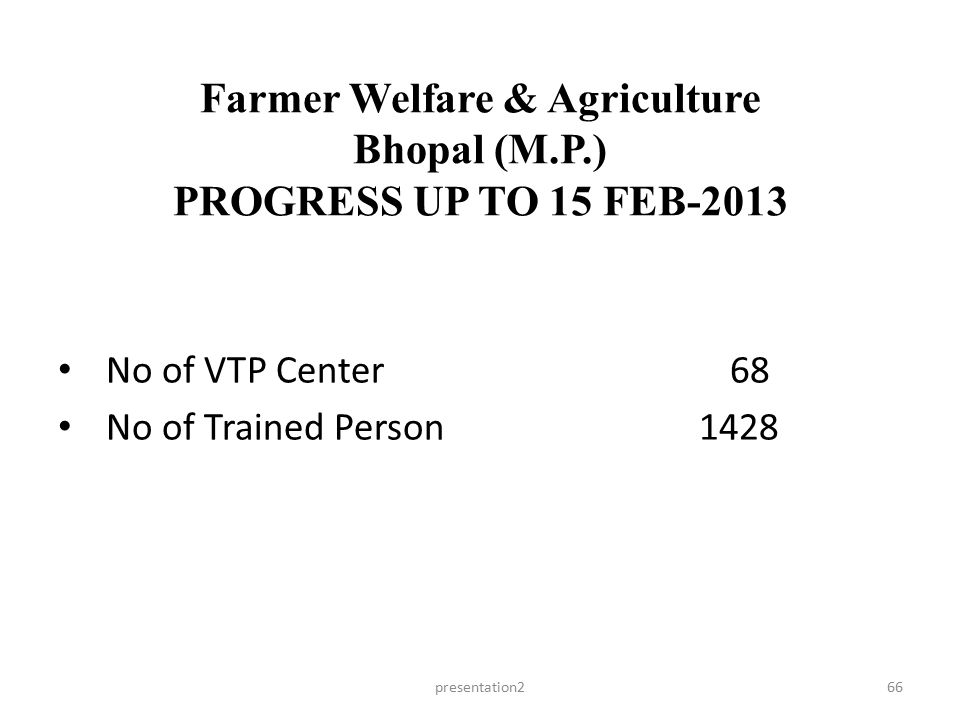 Farmer Welfare & Agriculture Bhopal (M.P.) PROGRESS UP TO 15 FEB-2013 presentation266 No of VTP Center 68 No of Trained Person 1428