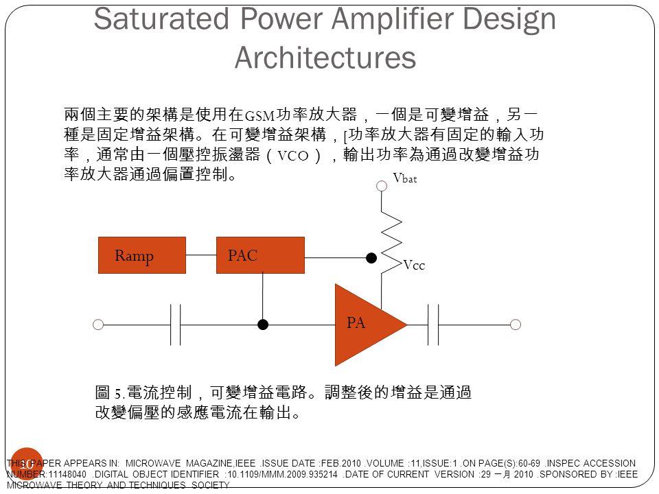 Saturated Power Amplifier Design Architectures 10 PA RampPAC Vcc V bat 兩個主要的架構是使用在 GSM 功率放大器,一個是可變增益,另一 種是固定增益架構。在可變增益架構, [ 功率放大器有固定的輸入功 率,通常由一個壓控振盪器(