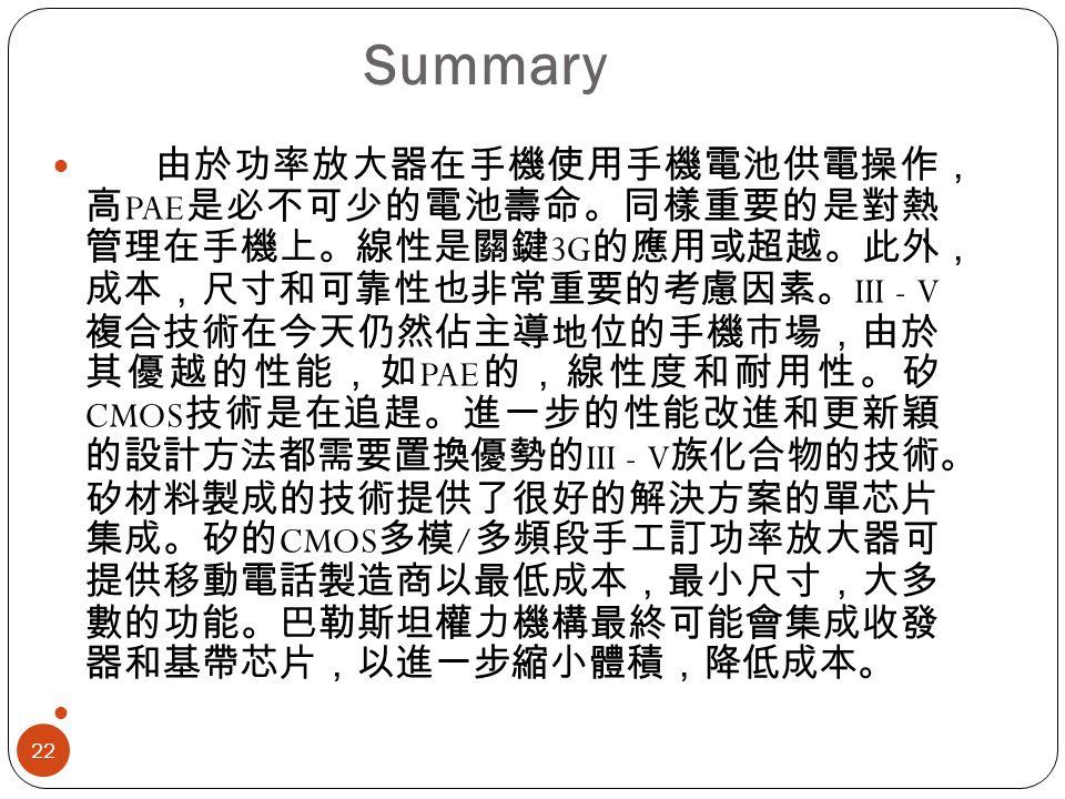 Summary 22 由於功率放大器在手機使用手機電池供電操作, 高 PAE 是必不可少的電池壽命。同樣重要的是對熱 管理在手機上。線性是關鍵 3G 的應用或超越。此外, 成本,尺寸和可靠性也非常重要的考慮因素。 III - V 複合技術在今天仍然佔主導地位的手機市場,由於 其優越的性能,如 PAE 的,線性度和耐用性。矽 CMOS 技術是在追趕。進一步的性能改進和更新穎 的設計方法都需要置換優勢的 III - V 族化合物的技術。 矽材料製成的技術提供了很好的解決方案的單芯片 集成。矽的 CMOS 多模 / 多頻段手工訂功率放大器可 提供移動電話製造商以最低成本,最小尺寸,大多 數的功能。巴勒斯坦權力機構最終可能會集成收發 器和基帶芯片,以進一步縮小體積,降低成本。
