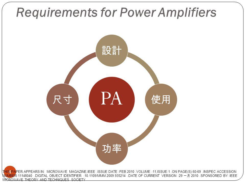 Semiconductor Technologies for RF Integrated Circuit Handset PAs 5 1.III - V 族化合物為基礎的技術和矽為基礎 2.