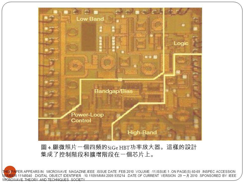 圖 4. 顯微照片一個四頻的 SiGe HBT 功率放大器。這樣的設計 集成了控制階段和擴增階段在一個芯片上。 9 THIS PAPER APPEARS IN: MICROWAVE MAGAZINE,IEEE.ISSUE DATE :FEB.2010.VOLUME :11,ISSUE:1.ON PA