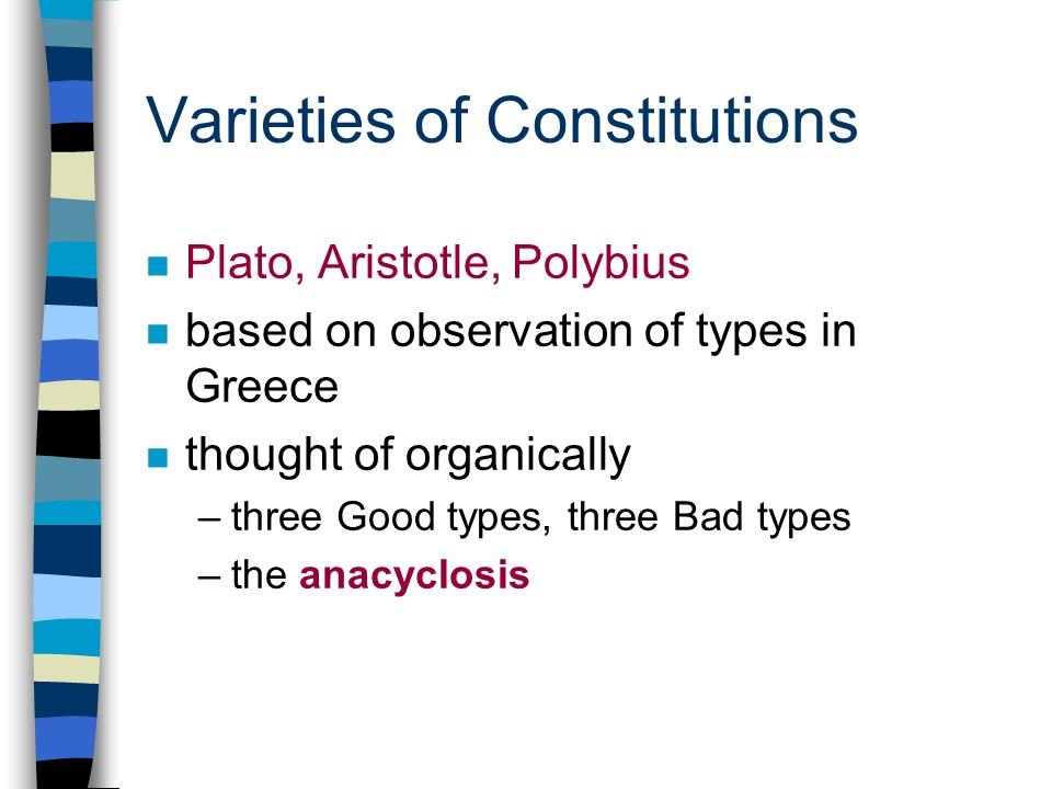 Varieties of Constitutions n Plato, Aristotle, Polybius n based on observation of types in Greece n thought of organically –three Good types, three Bad types –the anacyclosis