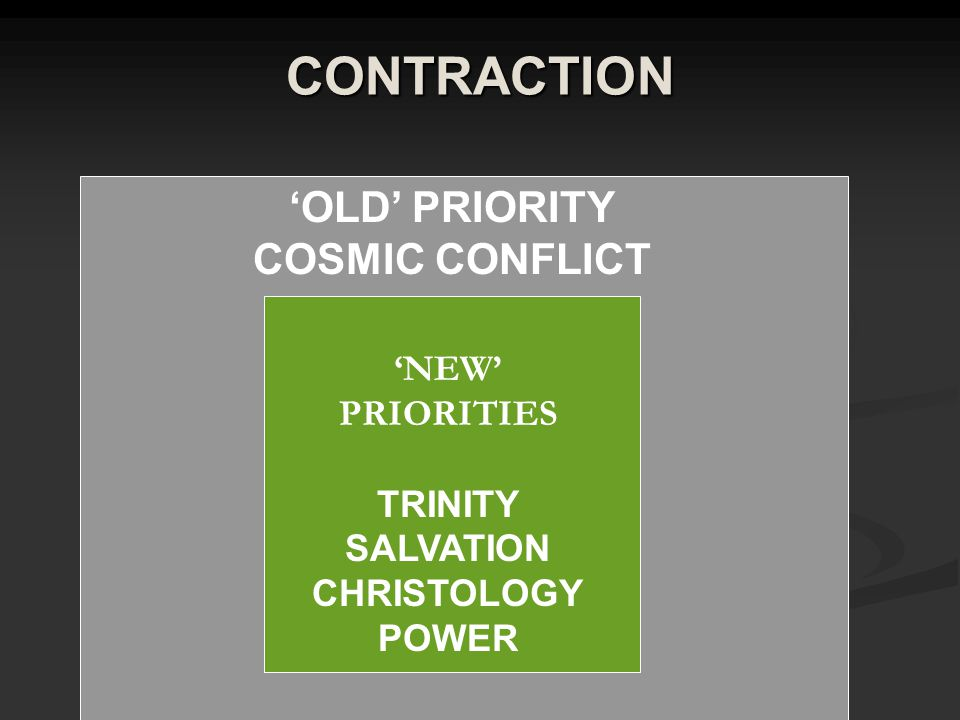 CONTRACTION 'OLD' PRIORITY COSMIC CONFLICT 'NEW' PRIORITIES TRINITY SALVATION CHRISTOLOGY POWER