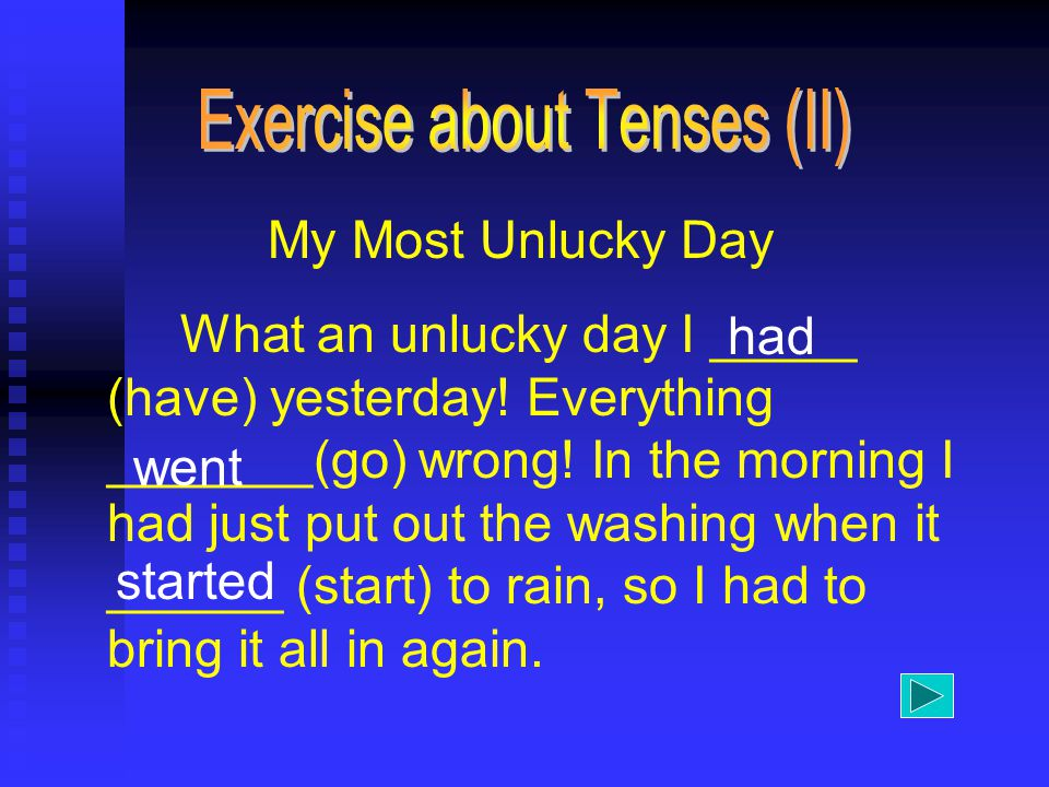 My Most Unlucky Day What an unlucky day I _____ (have) yesterday.