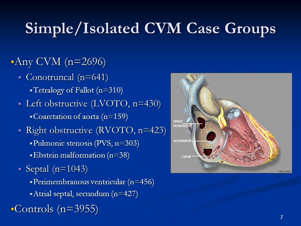 7 Simple/Isolated CVM Case Groups  Any CVM (n=2696)  Conotruncal (n=641)  Tetralogy of Fallot (n=310)  Left obstructive (LVOTO, n=430)  Coarctation of aorta (n=159)  Right obstructive (RVOTO, n=423)  Pulmonic stenosis (PVS, n=303)  Ebstein malformation (n=38)  Septal (n=1043)  Perimembranous ventricular (n=456)  Atrial septal, secundum (n=427)  Controls (n=3955)