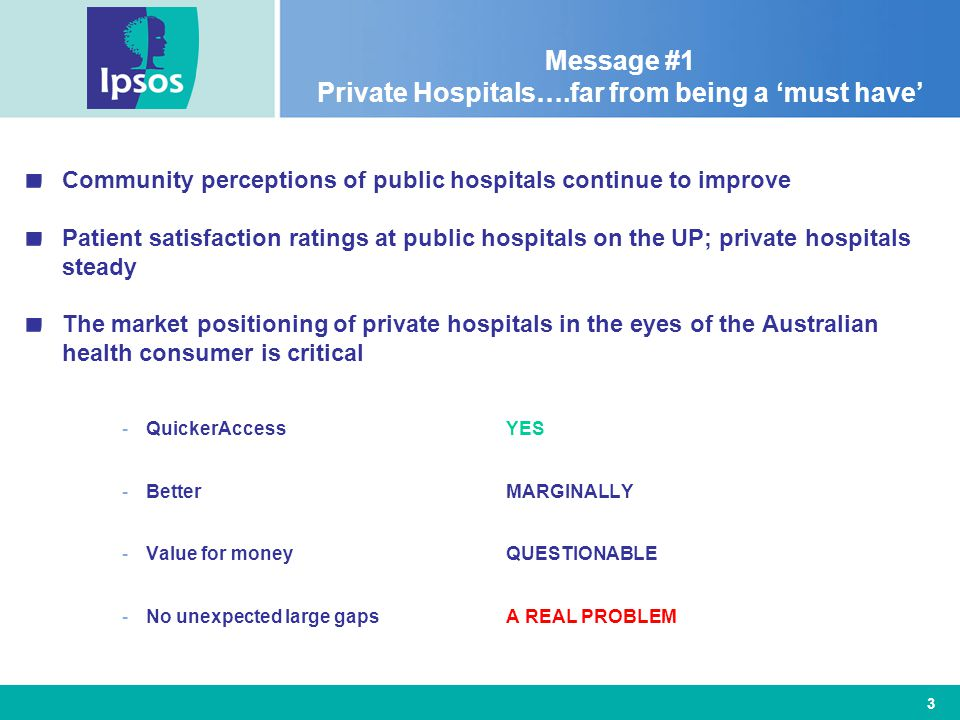 3 Message #1 Private Hospitals….far from being a 'must have' Community perceptions of public hospitals continue to improve Patient satisfaction ratings at public hospitals on the UP; private hospitals steady The market positioning of private hospitals in the eyes of the Australian health consumer is critical -QuickerAccessYES -BetterMARGINALLY -Value for moneyQUESTIONABLE -No unexpected large gapsA REAL PROBLEM