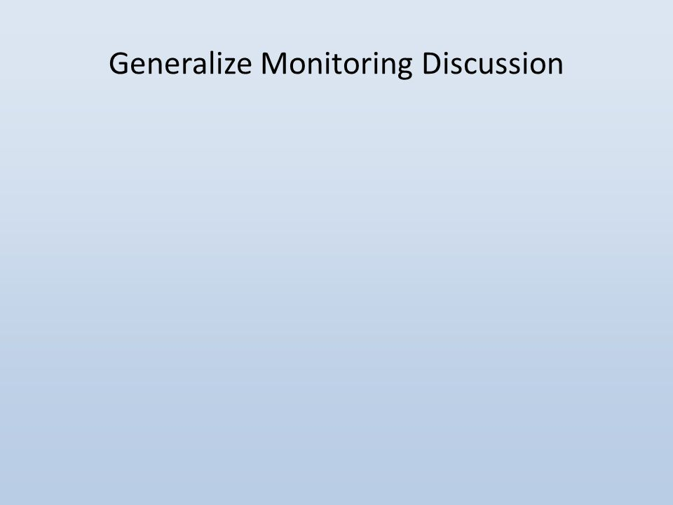 Generalize Monitoring Discussion