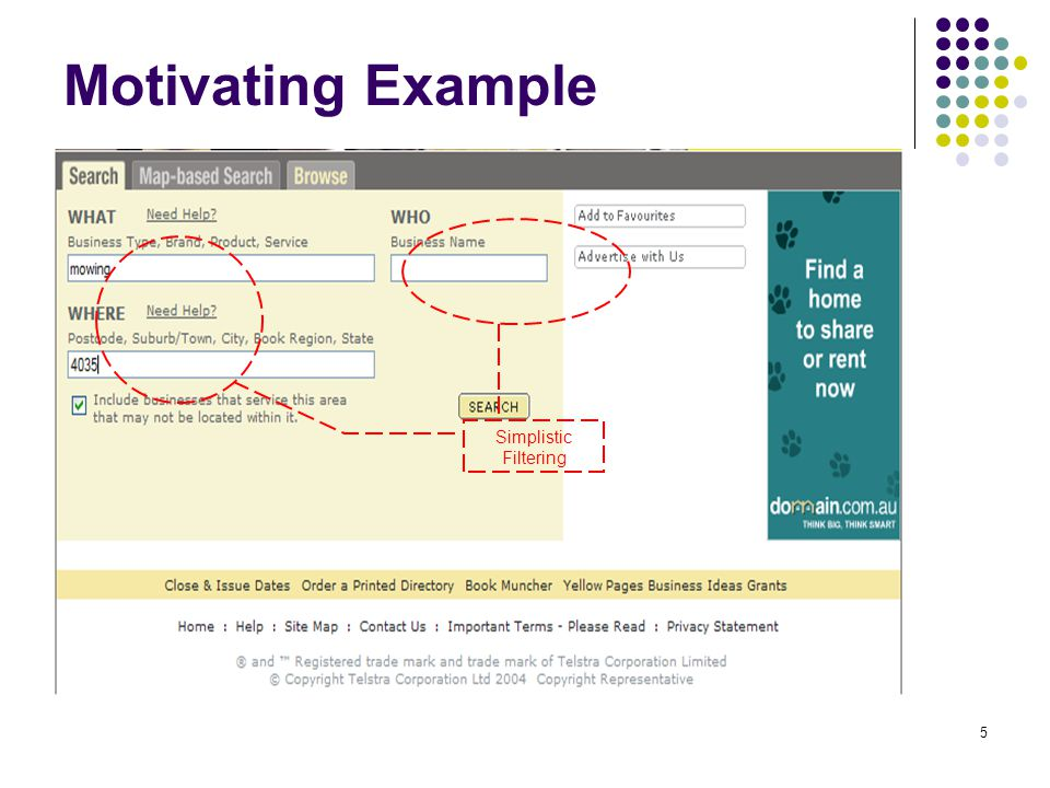 5 Motivating Example Simplistic Filtering