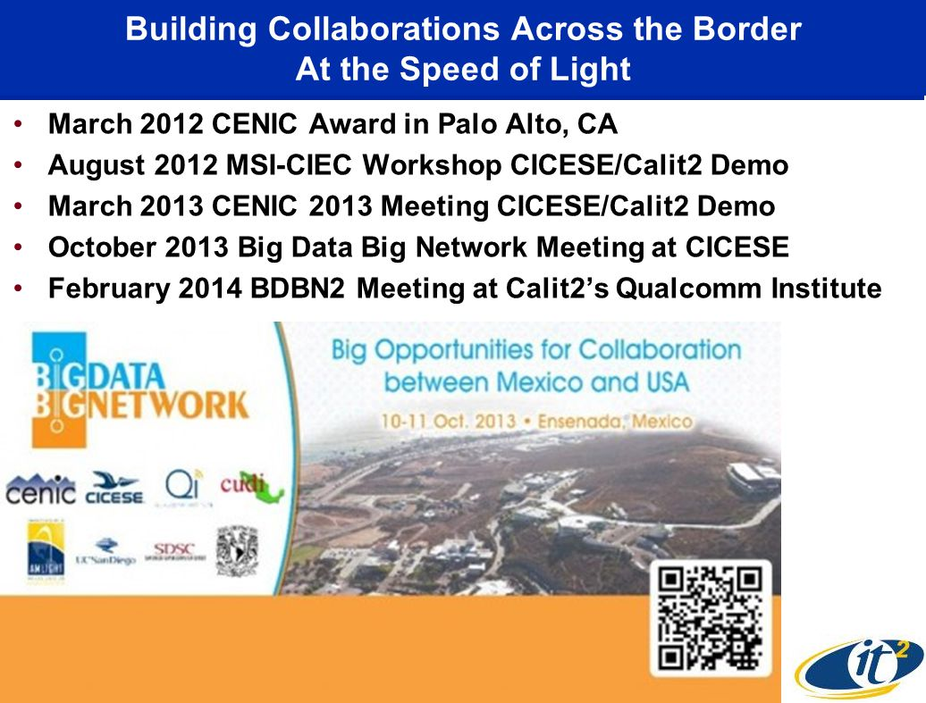 Building Collaborations Across the Border At the Speed of Light March 2012 CENIC Award in Palo Alto, CA August 2012 MSI-CIEC Workshop CICESE/Calit2 Demo March 2013 CENIC 2013 Meeting CICESE/Calit2 Demo October 2013 Big Data Big Network Meeting at CICESE February 2014 BDBN2 Meeting at Calit2's Qualcomm Institute