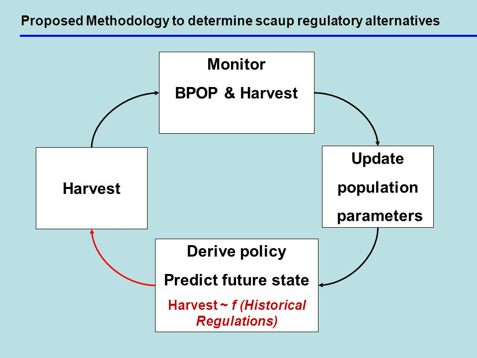 Proposed Methodology to determine scaup regulatory alternatives Derive policy Predict future state Harvest ~ f (Historical Regulations) Harvest Update