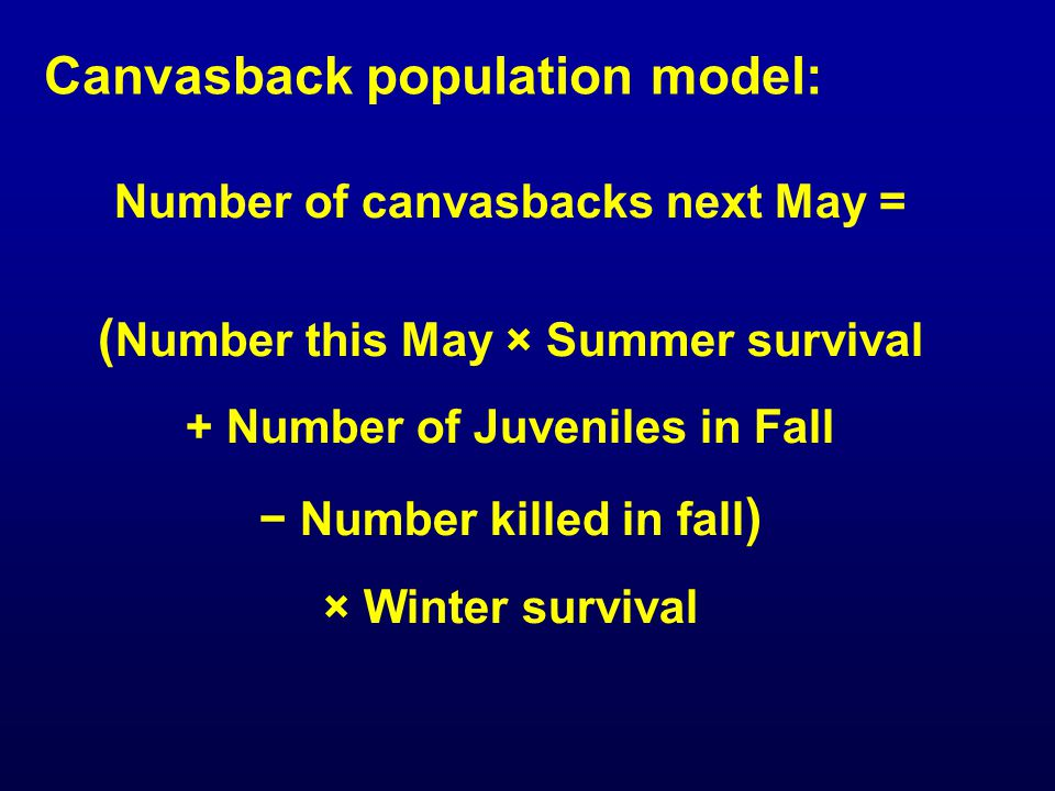 Canvasback population model: Number of canvasbacks next May = ( Number this May × Summer survival + Number of Juveniles in Fall − Number killed in fal