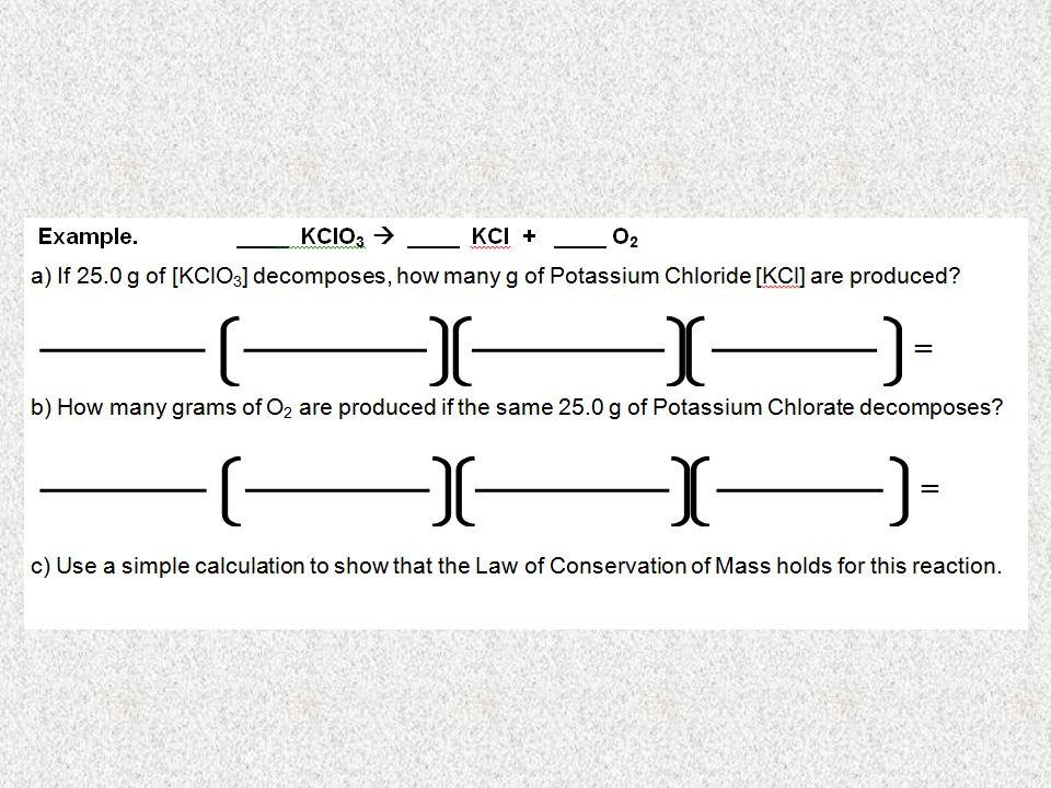 SO, WE KNOW THAT FOR ______ g H 2 TO FULLY REACT, ______ g O 2 IS NEEDED. Mass  Mole Conversions g  mol mol  molmol  g 10.079.2