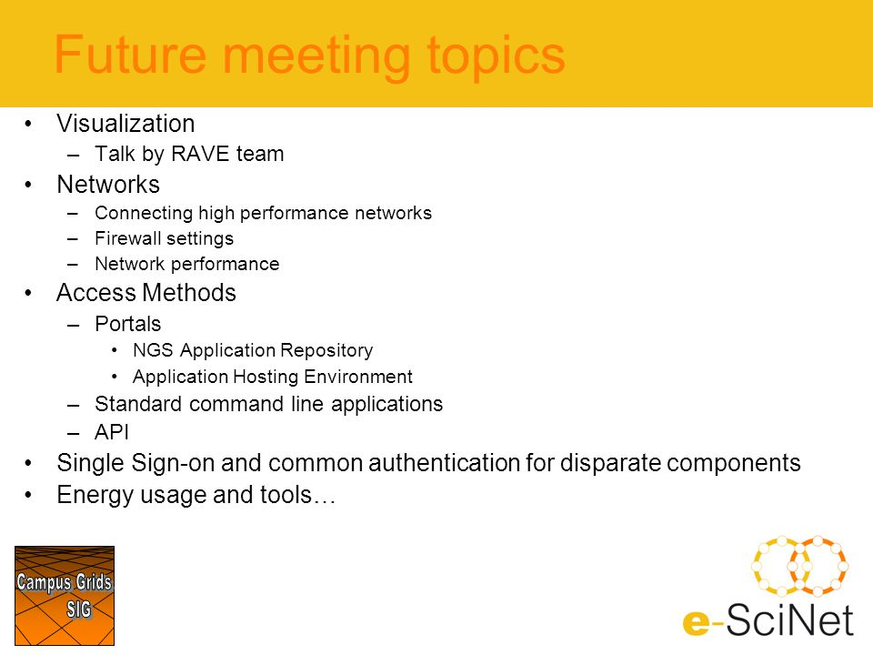 Future meeting topics Visualization –Talk by RAVE team Networks –Connecting high performance networks –Firewall settings –Network performance Access M