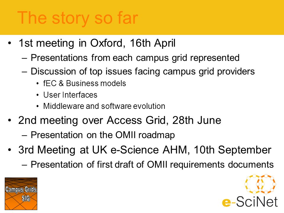The story so far 1st meeting in Oxford, 16th April –Presentations from each campus grid represented –Discussion of top issues facing campus grid provi