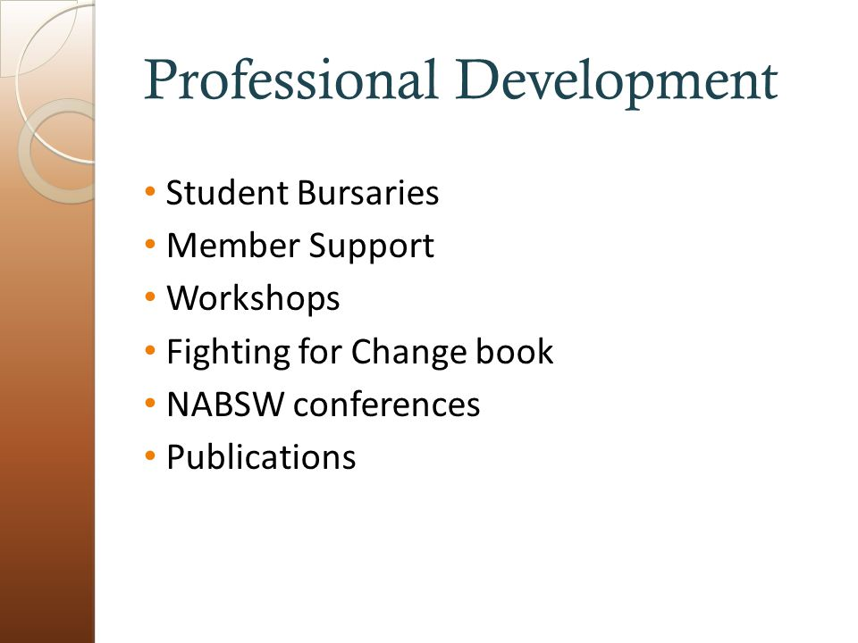 Professional Development Student Bursaries Member Support Workshops Fighting for Change book NABSW conferences Publications