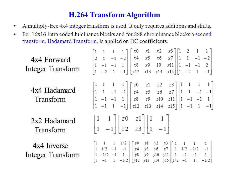 4x4 Forward Integer Transform 4x4 Hadamard Transform 2x2 Hadamard Transform 4x4 Inverse Integer Transform H.264 Transform Algorithm A multiply-free 4x4 integer transform is used.