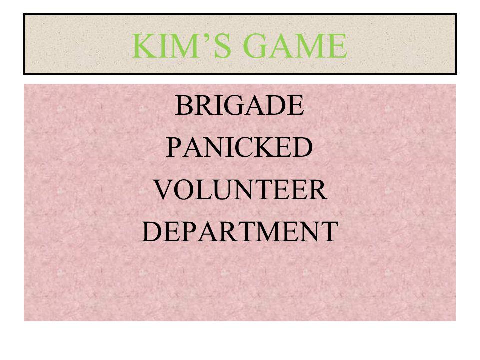 KIM'S GAME BRIGADE PANICKED VOLUNTEER DEPARTMENT