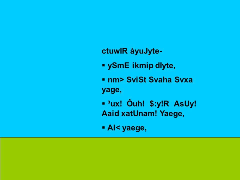 ctuwIR àyuJyte-  ySmE ikmip dIyte,  nm> SviSt Svaha Svxa yage,  ³ux.
