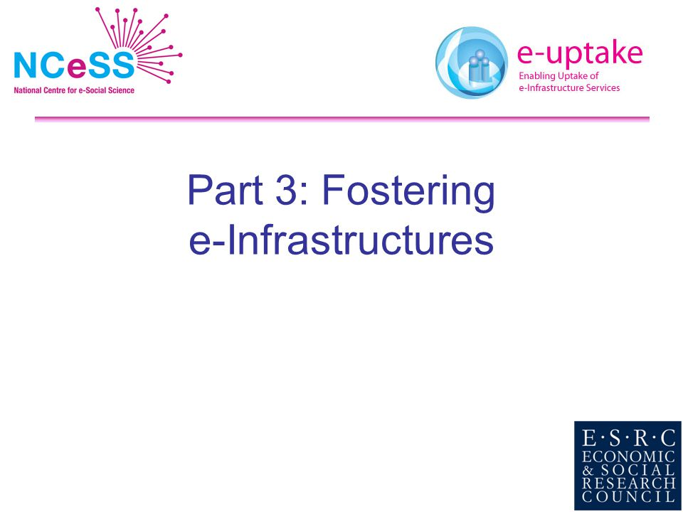 Part 3: Fostering e-Infrastructures