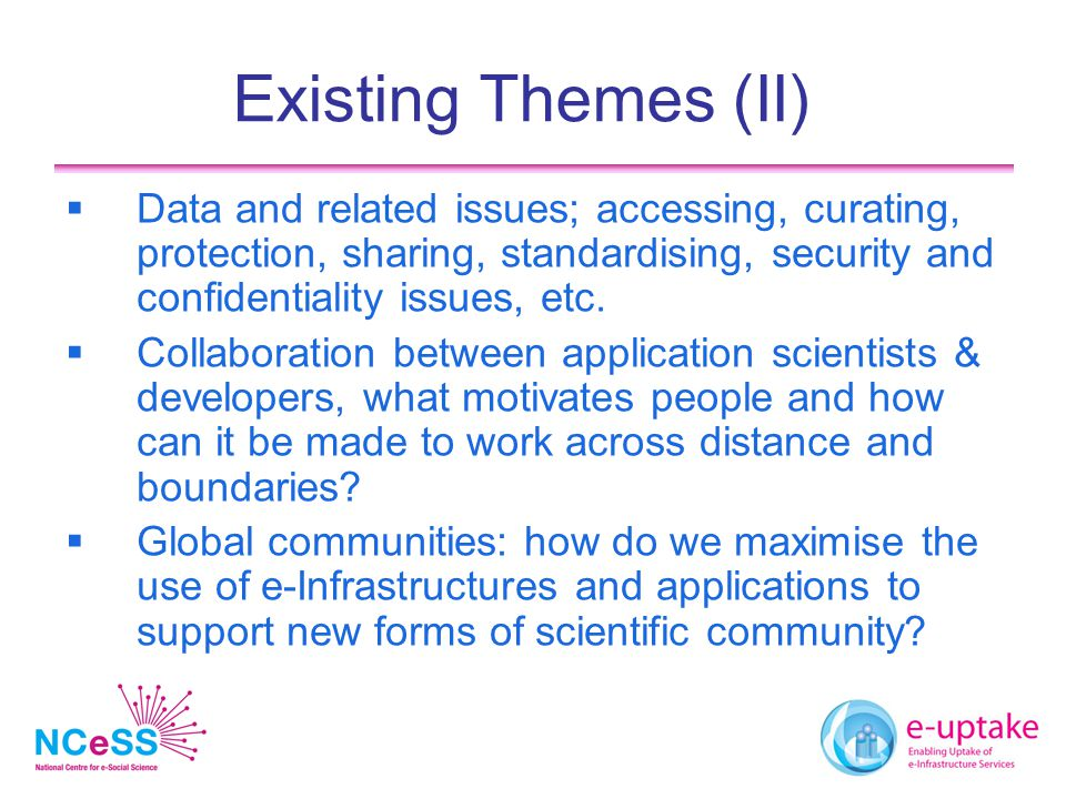 Existing Themes (III)  e-Research is inherently multi-disciplinary.