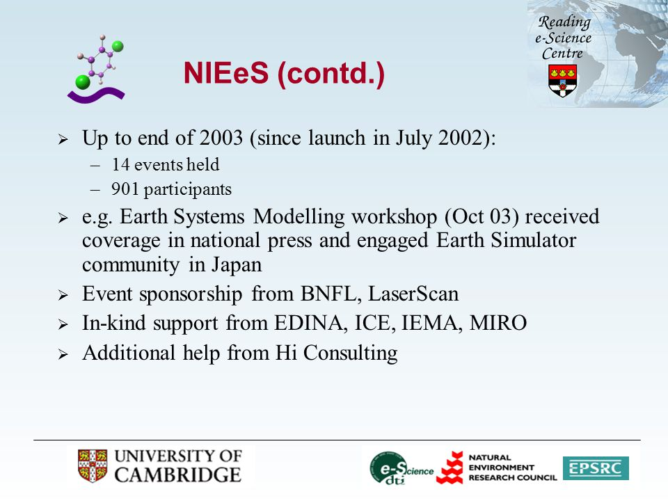 NIEeS (contd.)  Up to end of 2003 (since launch in July 2002): –14 events held –901 participants  e.g.