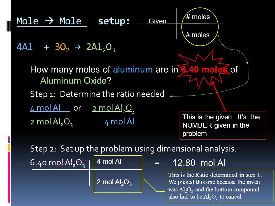 Mole  Mole setup: 4Al + 3O 2 → 2Al 2 O 3 How many moles of aluminum are in 6.40 moles of Aluminum Oxide.