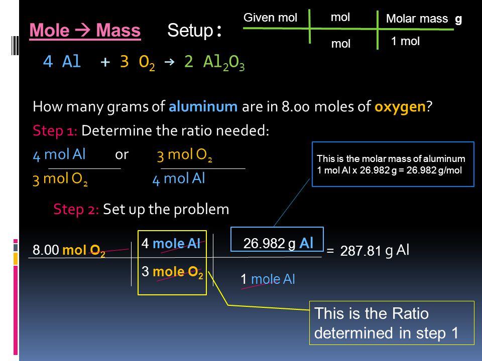 Mole  Mass Setup : 4 Al + 3 O 2 → 2 Al 2 O 3 How many grams of aluminum are in 8.00 moles of oxygen.