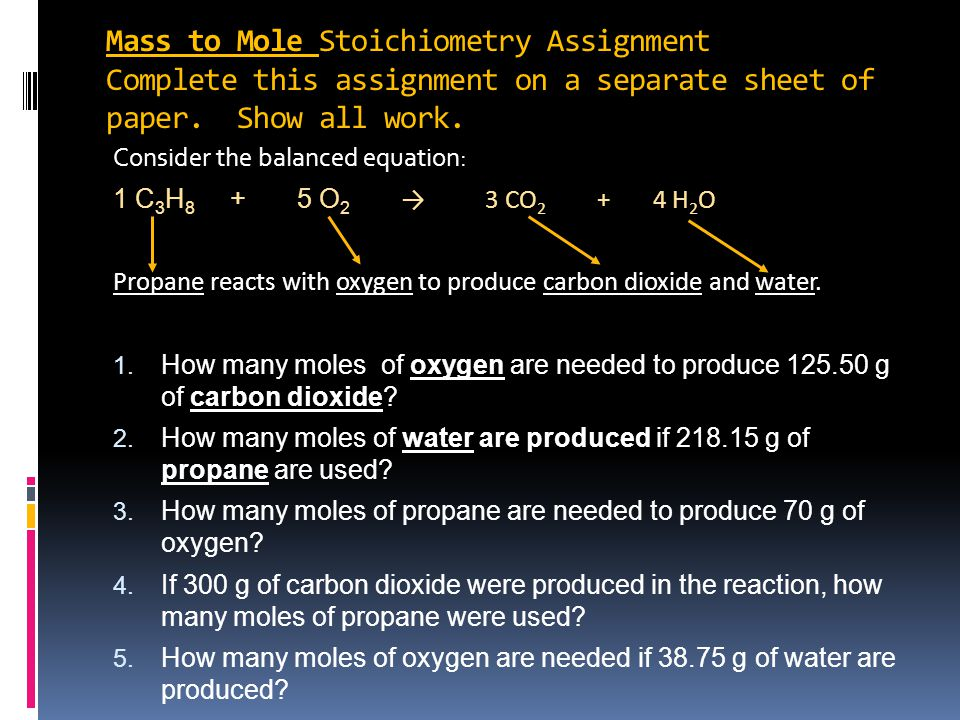 Mass to Mole Stoichiometry Assignment Complete this assignment on a separate sheet of paper.