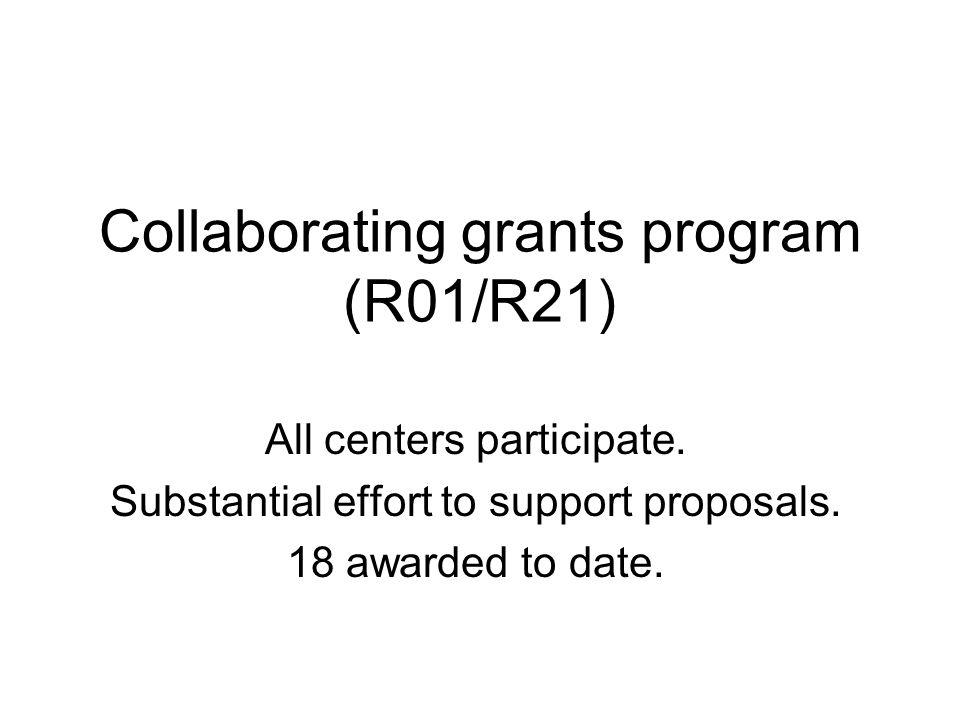 Collaborating grants program (R01/R21) All centers participate.
