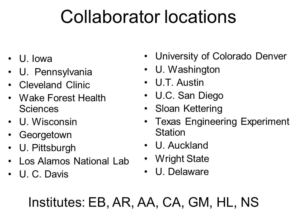 Collaborator locations U. Iowa U. Pennsylvania Cleveland Clinic Wake Forest Health Sciences U. Wisconsin Georgetown U. Pittsburgh Los Alamos National