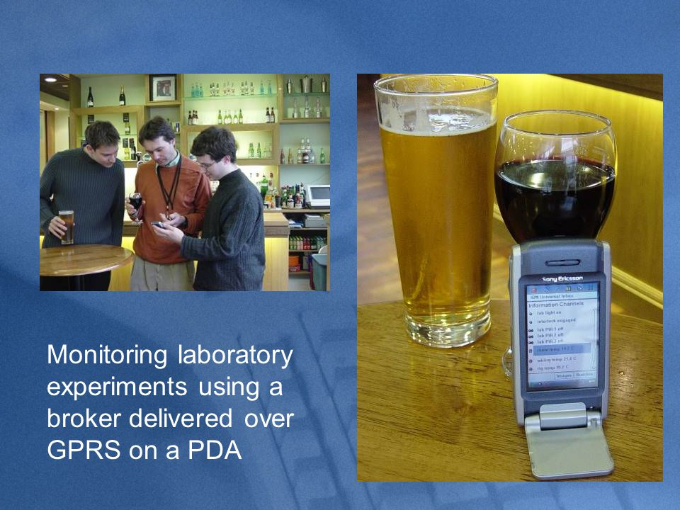 Monitoring laboratory experiments using a broker delivered over GPRS on a PDA