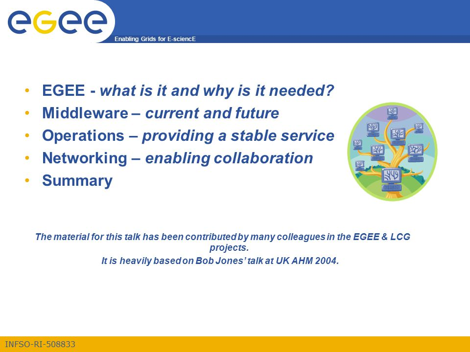 Enabling Grids for E-sciencE INFSO-RI-508833 EGEE - what is it and why is it needed? Middleware – current and future Operations – providing a stable s