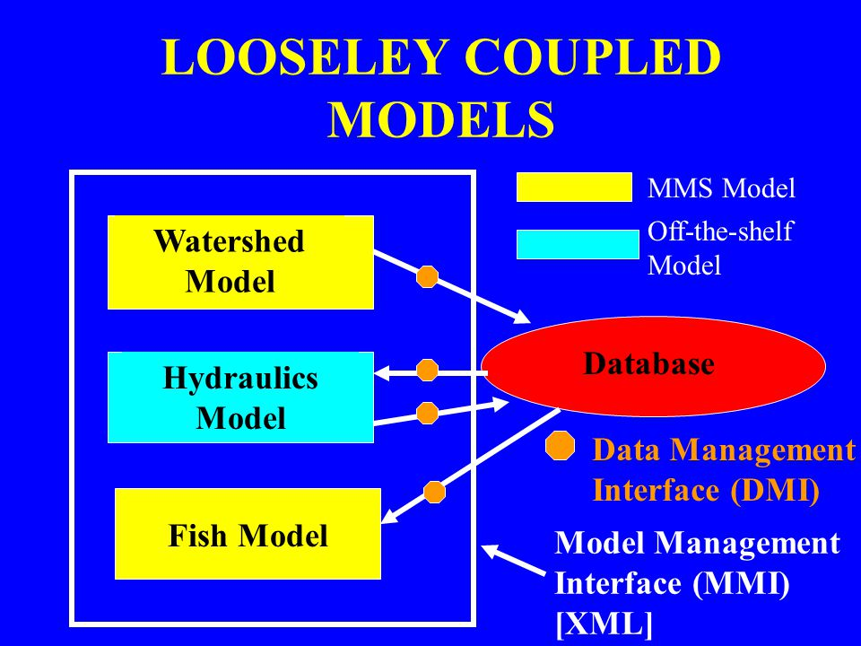 LOOSELEY COUPLED MODELS Watershed Model Hydraulics Model Database Fish Model Data Management Interface (DMI) MMS Model Off-the-shelf Model Model Manag