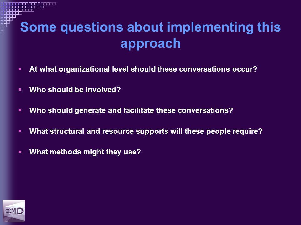 Answers  Org level  Involvement  Responsibility  Structural support  Method Clinical unit/team Multidisciplinary team Clinician managers Authorisation via CG Clinical pathways (H/V)