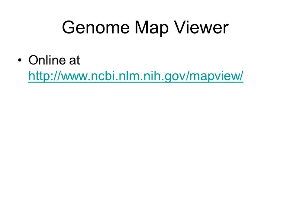 Genome Map Viewer Online at http://www.ncbi.nlm.nih.gov/mapview/ http://www.ncbi.nlm.nih.gov/mapview/
