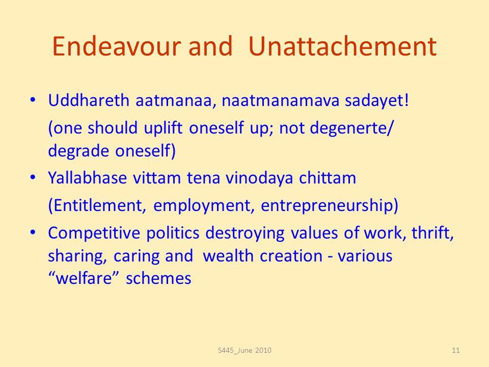 Endeavour and Unattachement Uddhareth aatmanaa, naatmanamava sadayet! (one should uplift oneself up; not degenerte/ degrade oneself) Yallabhase vittam