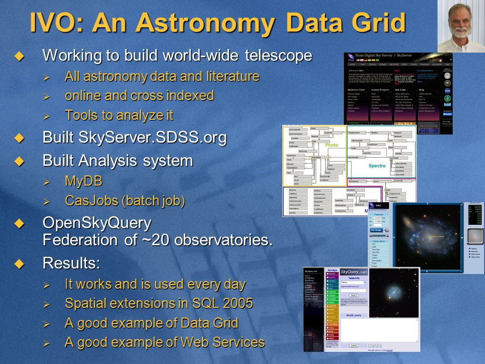 IVO: An Astronomy Data Grid  Working to build world-wide telescope  All astronomy data and literature  online and cross indexed  Tools to analyze it  Built SkyServer.SDSS.org  Built Analysis system  MyDB  CasJobs (batch job)  OpenSkyQuery Federation of ~20 observatories.