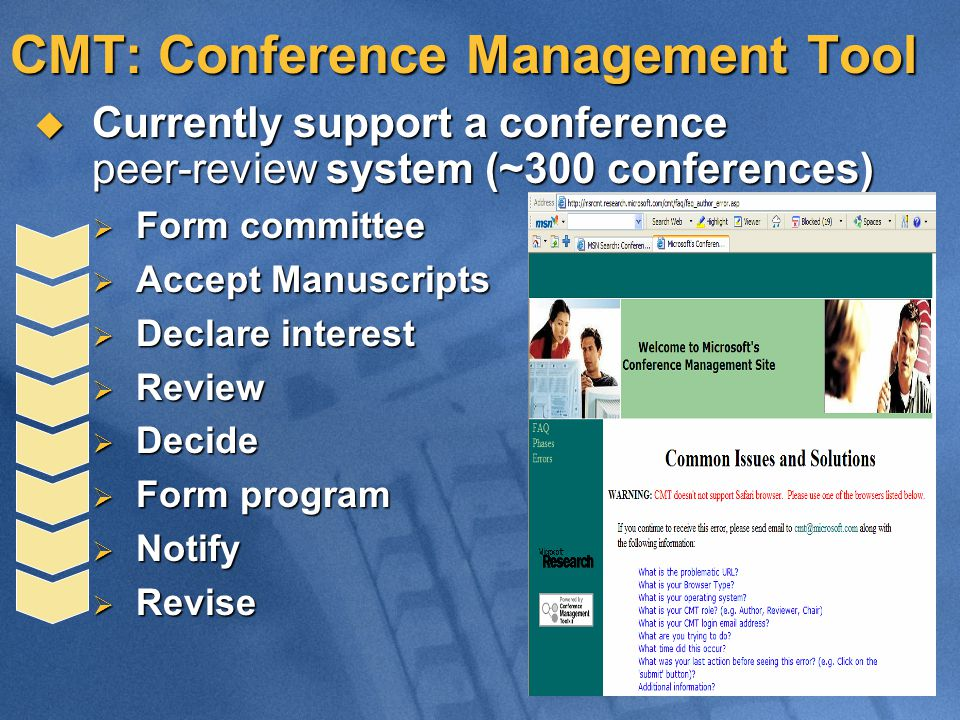 CMT: Conference Management Tool  Currently support a conference peer-review system (~300 conferences)  Form committee  Accept Manuscripts  Declare interest  Review  Decide  Form program  Notify  Revise